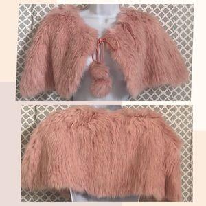 Jackets & Blazers - Super soft blush pink Rabbit fur cape capelet